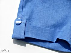 sewVery: How to Add a Button Tab to Cuffed Shorts Free Tutorial