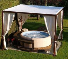 Hot Tub Privacy: Simple Minimalist Canopy Find dozens of inspiring hot tub privacy ideas that you can use as the ultimate reference to improve your outdoor living space!