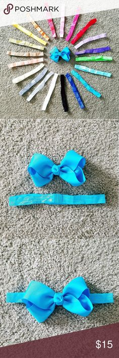 20 Elastic bow headbands 20 Elastic bow headbands. These are elastic headbands with a spot to attach bows (see 2nd & 3rd photos). Will come as pictured in last photo. Offers welcome. *Bow not included. Accessories Hair Accessories