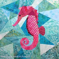 A Quilt and A Prayer: A Horse is a Horse, of course .... seahorse paper pieced quilt block