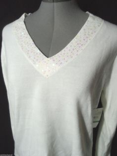 Nwt DEBBIE MORGAN Sequin Sweater top women PL Ivory V neck MACY'S long sleeve #DebbieMorgan #Bohopeasantpullovervnecksweatertop #casualcareereveningwesternbusiness