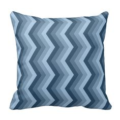 Geometric ZigZag Throw Pillow Shades of Blue