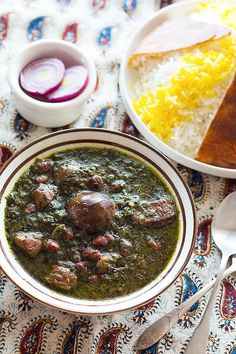 Ghormeh Sabzi - Persian Herb Stew is one of the most delicious stews in Persian cuisine. A mixture of fragrant herbs and spices makes this stew very special! Iranian Dishes, Iranian Cuisine, Iranian Food, Kebab Recipes, Beef Recipes, Soup Recipes, Chowder Recipes, Lamb Kebabs, Beef Kabobs