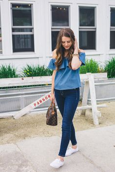 Off The Shoulder Double Denim at Parson's - The Golden Girl