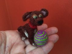 Two inch needle felted miniature brown dog, by artbythebeth on Etsy
