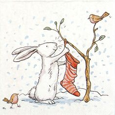 4 Single Lunch Party Paper Napkins for Decoupage Decopatch Charming Snow Rabbit   eBay