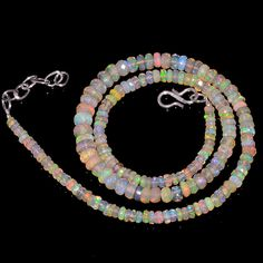 """61CRTS 3.5to6.5MM 18"""" ETHIOPIAN OPAL FACETED RONDELLE BEADS NECKLACE OBI3137 #OPALBEADSINDIA"""