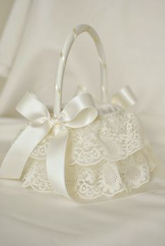 Ivory Tulle and Lace Flower Girl Basket  Ivory by weddingsandsuch, $48.00