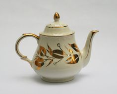 Cream and Gold Arthur Woods Chatsworth Teapot