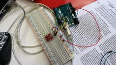 <p>Here, an Arduino paired with a temperature and humidity sensor is used…
