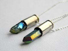 Mystic Blue Crystal Bullet Necklace  Mystic Quartz by DanaCastle, $28.50