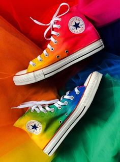 Rainbow Tie Dye Custom Converse High Tops from Intellexual Design. Saved to Custom Converse Toms and Vans. Converse Outfits, Cool Converse, Custom Converse, Converse Sneakers, Pumas Shoes, Converse All Star, Converse High, Sneakers Women, Sperry Shoes