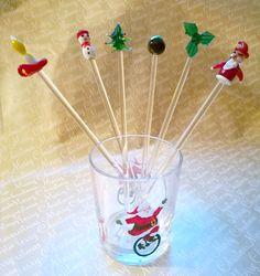 Christmas glass swizzle sticks, Glass drink stirrers, Vintage hand blown Xmas glass swizzle sticks set in original box, Vintage bar Man cave