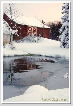 main barn on the farm~built on a hill .to enable a root cellar, underneath, and loading trucks out the back on market days. Winter Sunset, Winter Snow, Winter Time, Farm Barn, Old Farm, Snow Scenes, Winter Scenes, Country Barns, Country Living