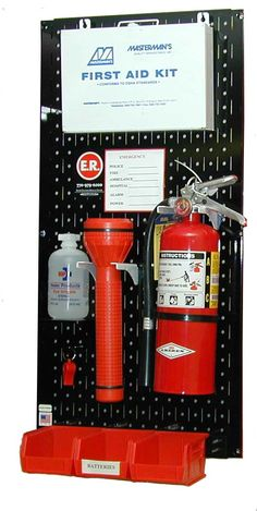Wall Control metal pegboard tool boards are naturally fire resistant and make great first aid pegboard stations www.WallControl.com