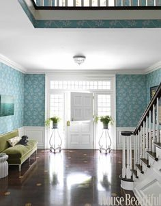 white dutch door, turquoise wallpaper, to die for floors. Wallpaper Staircase, Of Wallpaper, Pattern Wallpaper, Entry Stairs, Entry Hallway, Entrance Hall, Entryway Bench, Turquoise Wallpaper, Turquoise Walls