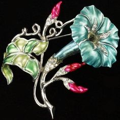 MB Boucher Metallic Enamel Lily with Buds and Leaf Pin