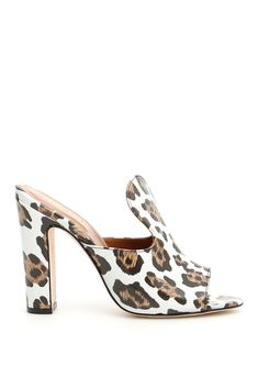 Paris Texas leopard-printed leather mules with shiny effect. Color: LEO BIANCO Heel Height: 11 cm Original Box Brand New and Authentic In Stock Ready to Ship Made in Italia Mules Shoes, Heeled Mules, Texas Animals, Open Toe Mules, Paris Texas, Leather Mules, Luxury Branding, Block Heels, High Heels