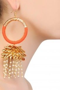 Orange Gota Ribbon Jhumki Tassel Drop Earrings #gotta #ribbon #earrings…