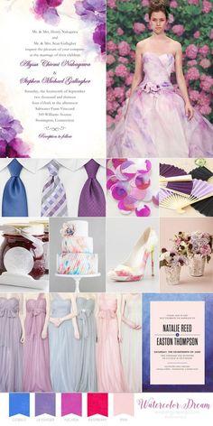 Wedding Paper Divas watercolor wedding inspiration board cobalt blue fuchsia red raspberry pink fuchsia color palette