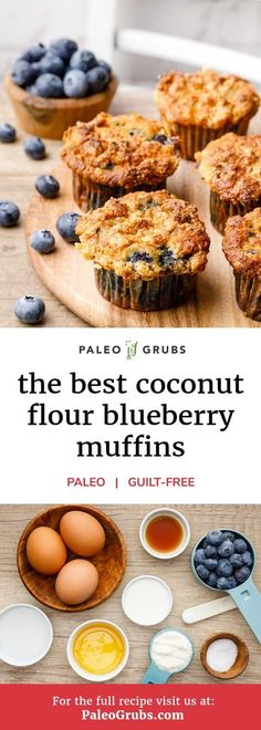 If you're an individual who is always feeling rushed in the mornings and you're looking for a breakfast option that's both nutritious and easy to grab and go, this recipe for coconut flour blueberry muffins is for you. The muffins are grain and gluten Paleo Baking, Gluten Free Baking, Gluten Free Desserts, Coconut Flour Recipes, Paleo Recipes, Whole Food Recipes, Coconut Flour Baking, Free Recipes, Coconut Flour Cakes