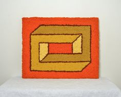Geometric 70s Yarn Art by NeatoVintage on Etsy, $65.00