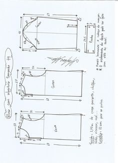 Esquema de modelagem de blusa com abertura na frente e costas tamanho 44.