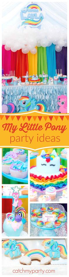 Don't miss this colorful My Little Pony birthday party! The Rainbow Dash birthday cake is adorable!! See more party ideas and share yours at CatchMyParty.com #birthdaycakes