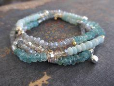Gemstone wrap bracelet necklace - CALM - pale blue green gray labradorite apatite Swarovski crystal gold fill fine silver boho by slashKnots