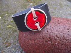 Leather cuff/ bracelet with ceramic button