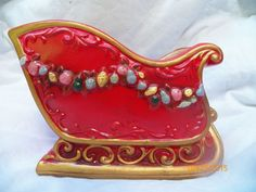 Vintage Ceramic Napcoware Red Christmas Sleigh Centerpiece Arrangement Container
