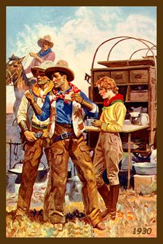 Cowboys and Cowgirl at Chuckwagon 1930. Vintage postcard image printed on cotton by American Quilt Blocks. Ready to sew.  Single 4x6 block $4.95. Set of 4 blocks with pattern $17.95.