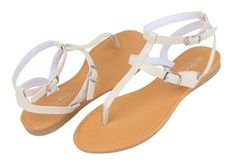 Womens Roman Gladiator Sandals Flats Thongs 2 buckle Shoes 4 colors (7, Beige 2554)
