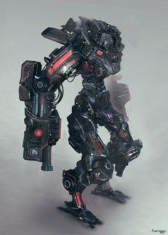 Robot design for AMD FirePro graphic cards . Character Concept, Character Art, Character Design, Mekka, Sci Fi Armor, Robot Concept Art, Ex Machina, Robot Design, Suit Of Armor