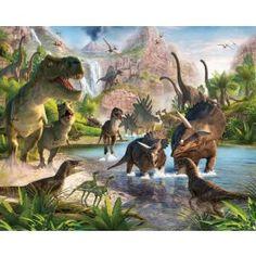 De dino's zijn terug!Al zijn ze alweer zo'n 65 miljoen jaar geleden uitgestorven, dino's zijn weer helemaal terug.....op kinderbehang.  Door het 3D effect geeft het de speel,- game of slaapkamer een ruimtelijke uitstraling.  Slechts 12 behangvellen zijn er nodig om een kinderkamer om te toveren.De totale afmeting van het behang is 243,8 cmx 304,8 cm.