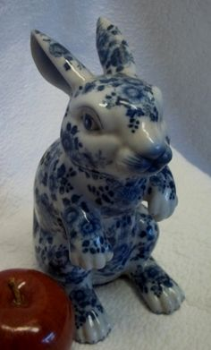 Love to have this to add to my collection of Rabbits.. Blue White Porcelain Rabbit Figurine 8""