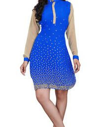 Buy Blue  Embroidered Chiffon kurtas-and-kurtis kurtas-and-kurti online