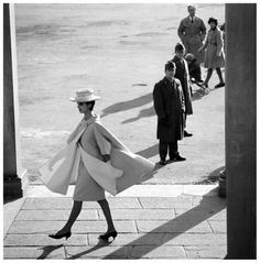 Tilly Tizzani in a wool coat by Fabiani, Florence, Italy, March 1961