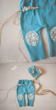 Teal pant set with knee patches and headband