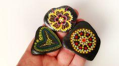 Mandala set three lava stones natural hand-painted. by bakitashop