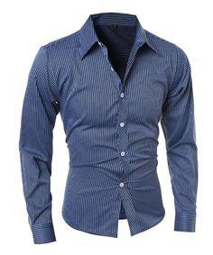 Raya vertical que adelgaza la camisa de cuello de manga larga con estilo Poliéster ocasional camisa para los hombres