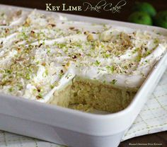 For a taste of the Florida Keys try this Key Lime Poke Cake filled with the bright flavor of lime juice and topped with whipped cream and lime zest.