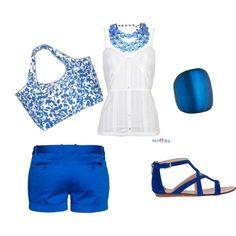Blue Beach Outfit with cute blue floral beach bag!