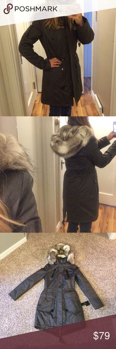 NWT - women jacket! New with tags. Super cute women's jacket, size small. Grey with black leather accents. Faux fur hood (good quality in my opinion), I always have had good luck with this brand of jackets. Selling because I purchased a different one and lost the receipts for these. Open to all offers, doing some closet cleaning! Laundry by Shelli Segal Jackets & Coats