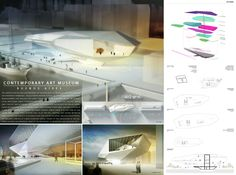 Winners Proposals Of Buenos Aires New Contemporary Art Museum Competition to design a New Contemporary Art Museum in the Heart of Buenos Aires. by AC-CA University Architecture, Museum Architecture, Architecture Panel, Amazing Architecture, Interior Architecture, Architecture Presentation Board, Presentation Layout, Presentation Boards, Architectural Presentation