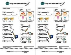 My Play Doctor Checklist & Appointment Cards - Imaginary/Dramatic Play Dramatic Play Area, Dramatic Play Centers, Community Helpers Preschool, Playing Doctor, Teacher Notebook, Play Centre, Child Life, Activities For Kids, Pretend Play