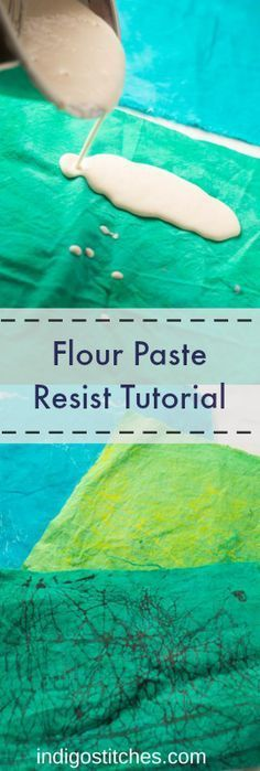 Flour Paste Resist Tutorial - Learn how to use flour and paint to make crackled, distressed fabric.