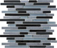 Black Timber Glass Slate Linear Blend Mosaics