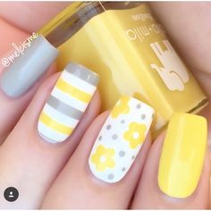 "??????This mani by @melcisme is so bright & sunny & wonderful! -Daisy Flower Nail Decals found at <a href=""http://snailvinyls.com"" rel=""nofollow"" target=""_blank"">snailvinyls.com</a>"