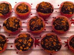Gingerbread muffins with lingonberry filling, topped with dark chocolate and crumbled pepparkakor. Adapted from the link attached. Baked by me ; December 12, Gingerbread, Muffins, Chocolate, Dark, Cooking, Breakfast, Desserts, Food
